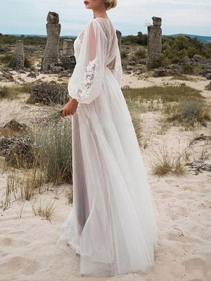 Simple Wedding Dress A Line Tulle Jewel Neck Long Sleeves Lace Bridal Dresses_2