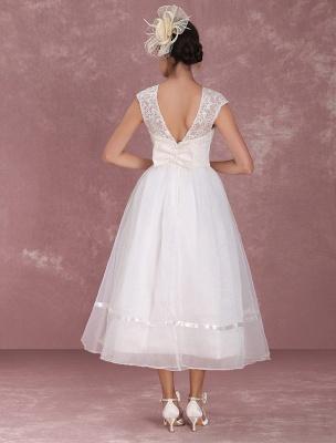 Mini robe de mariée élégante en filet à col rond_6