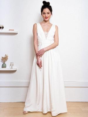 Weißes einfaches Hochzeitskleid Satin Stoff V-Ausschnitt Ärmellose Knöpfe A-Linie Lange Brautkleider_3