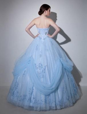 Robe de mariée bleue robe de bal en dentelle longueur au sol chérie sans bretelles perles princesse robe de mariée exclusive_4