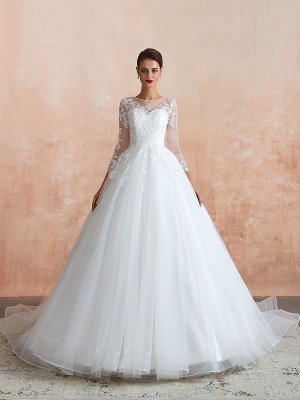 Wedding Gown 2021 3/4 Sleeve Jewel Neck Lace Appliqued Beaded Ball Gown Bridal Wedding Dress With Train_1