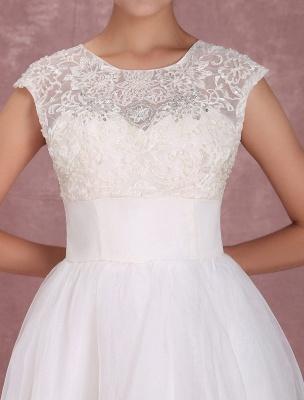 Mini robe de mariée élégante en filet à col rond_7