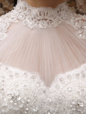 Wedding-Dresses-Ball-Gown-Bridal-Dress-Lace-Applique-Open-Back-High-Collar-Sequins-Rhinestones-Floor-Length-Bridal-Dress_9