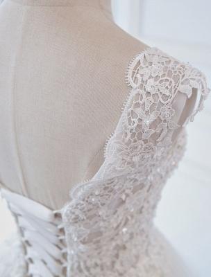 Robes de mariée princesse robes de bal dentelle col en V sans manches longueur de plancher robes de mariée_7