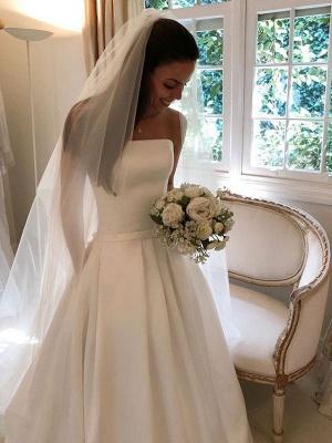 Vintage Brautkleider 2021 Satin Strapless A-Linie bodenlangen klassischen Brautkleid mit Zug_1