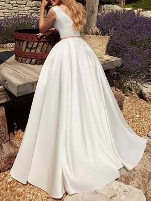 Vintage Brautkleider Bodenlangen Designed Ausschnitt Ärmellose Schärpe Satin Stoff Brautkleider_2