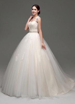 Tulle Cap Sleeves Keyhole Back Princess Wedding Dress With Bow And Rhinestone Sash_4