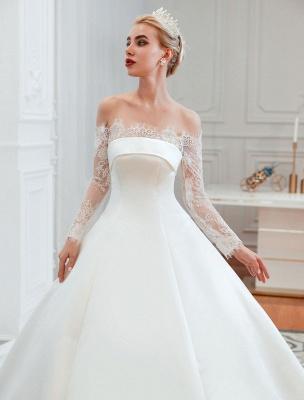 Vintage Brautkleid 2021 Schulterfrei Langarm Prinzessin Satin bodenlangen Brautkleider mit Zug With_3