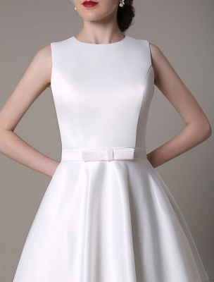 A-Line Wedding Dress Knee-Length Feather Tiered Satin Bow Bridal Dress Exclusive_8