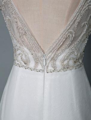 Robe de mariée de plage une ligne sans manches col en V haute Split longueur de plancher dos nu robe de mariée sexy_6