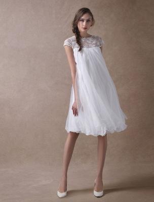 Simple Wedding Dresses Short Empire Waist Lace Tulle Cap Sleeve Pregnant Bridal Dress Exclusive_3