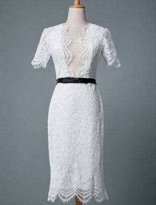 Einfache Brautkleider V-Ausschnitt Kurze Ärmel Mantel Knielang Vintage Brautkleider Exklusiv_2