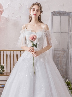 Ball Gown Wedding Dress Princess Silhouette Off The Shoulder Short Sleeves Natural Waist Floor Length Bridal Gowns_5