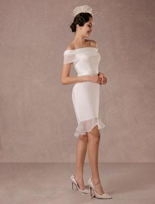 Kurzes Brautkleid Meerjungfrau Off-The-Shoulder Satin Vintage Brautkleid Rüschen Mini Braut Sommer Brautkleider 2021 Exclusive_5