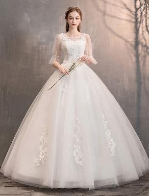 Tüll Brautkleid Elfenbein Spitze Applique Blumendetail Halbarm Prinzessin Brautkleid_1
