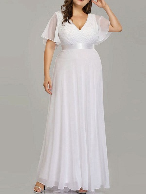 Simple Wedding Dress V Neck Short Sleeves A Line Floor Length Chiffon Sash Plus Size Bridal Gowns With Sweep Train_2