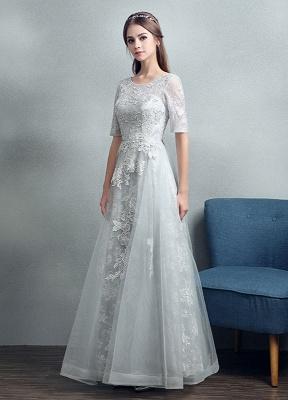 Robes de mariée d'été 2021 dentelle grise appliques Maxi robe de mariée dos nu demi-manches étage longueur robe de mariée_3