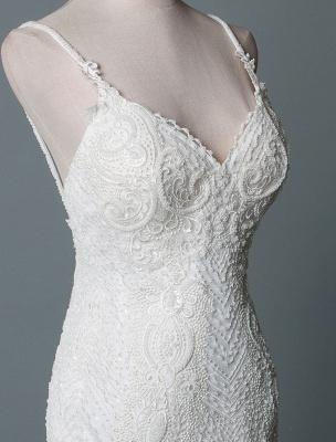 Einfache Brautkleider Spitze V-Ausschnitt Ärmellose Spitze Meerjungfrau Brautkleider mit Zug With_5