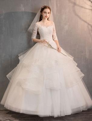 Elfenbein Brautkleider Tüll Illusion Ausschnitt Halbarm Bodenlangen Prinzessin Brautkleid_4