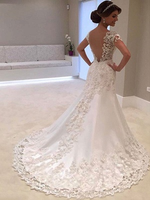 Wedding Dresses 2021 V Neck Short Sleeve Sheath Deep V Backless Lace Beaded Bridal Gowns With Train_1