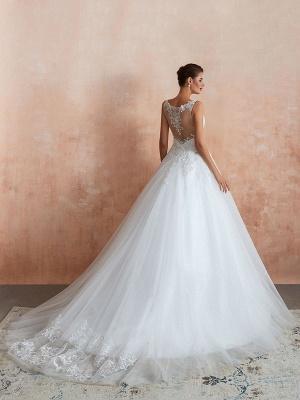 Wedding Dress 2021 V Neck Princess Sleeveless Floor Length Tulle Bridal Gown With Train_3