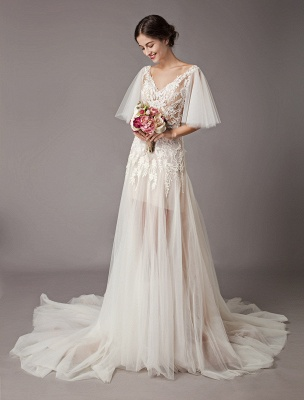 Boho Wedding Dresses Tulle Lace V Neck Butterfly Sleeve Backless Summer Beach Bridal Gowns_2