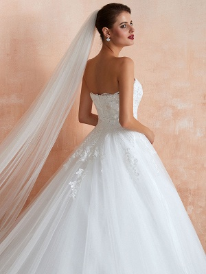 Wedding Dress Princess Silhouette Sweetheart Neck Sleeveless Natural Waist Bridal Gowns With Train_8
