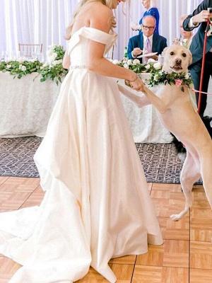 Vintage Brautkleider Schulterfrei Ärmellos Natürliche Taille Satin Stoff Gericht Zug Schärpe Brautkleid_3
