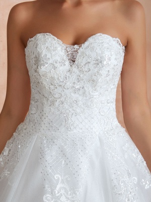 Wedding Dress Princess Silhouette Sweetheart Neck Sleeveless Natural Waist Bridal Gowns With Train_9