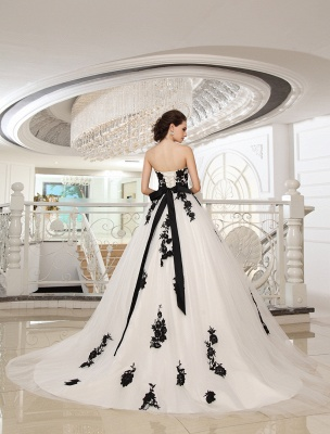Wedding Dresses Strapless Black Bridal Gown Lace Applique Flowers Sash Beaded Court Train Ivory Tulle Bridal Dress Exclusive_4
