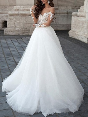 Princess Wedding Dress 2021 Ball Gown Sweetheart Neck Long Sleeves Backless Lace Tulle Bridal Dresses With Court Train_2