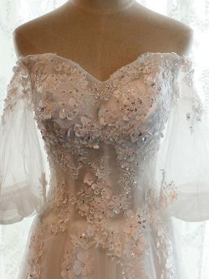 Vestido de novia de playa Vestidos de novia de marfil con hombros descubiertos Flores de media manga Escote corazón con cuentas Vestido de novia maxi para el verano_8