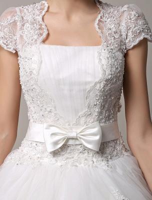 Kurzarm-Spitze-Prinzessin-Hochzeitskleid mit mehrlagigem Tüllrock Exklusiv_5