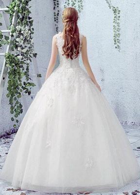 Vestido de novia de encaje Escote redondo Sin mangas Satén Red Vestido de novia con cordones y cuentas_2