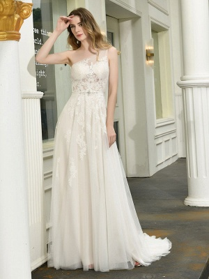 Bridal Dress 2021 One Shoulder Sleeveless Buttons Bridal Dresses With Train_4