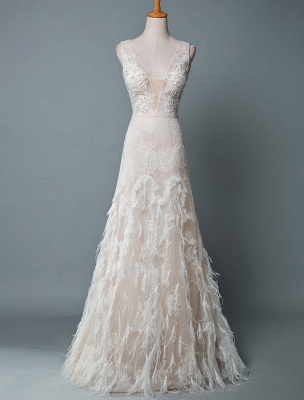 Simple Wedding Dress Lace A Line V Neck Sleeveless Beaded Floor Length Feather Bridal Gowns_1