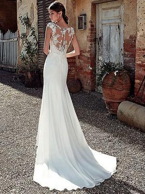White Simple Wedding Dress White Chiffon Illusion Neckline Sleeveless Court Train Applique Sheath Bridal Gowns_2
