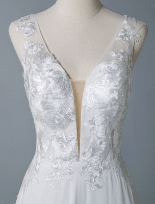 Simple Wedding Dress A Line V Neck Sleeveless Lace Illusion Back Bridal Gowns_7