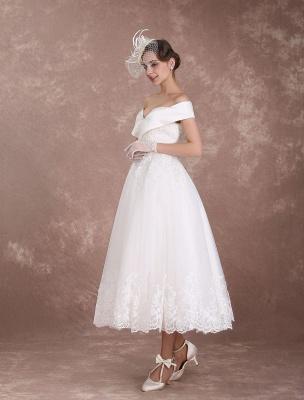 Vintage Wedding Dresses Off The Shoulder Short Bridal Dress 1950'S Lace Applique Beaded Tea Length Wedding Reception Dress Exclusive_3