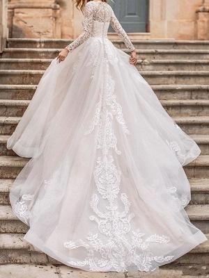 Weißes Brautkleid A-Linie Illusion-Ausschnitt mit langen Ärmeln Applikationen mit Kapelle-Schleppe Brautkleider_2