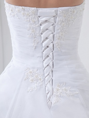 Robes de mariée blanches sans bretelles robe de mariée dentelle perles côté robe de mariée drapée avec train_8