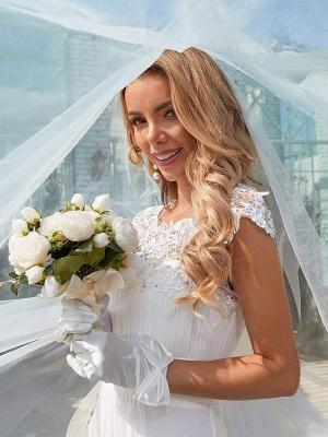 Vestido de novia blanco simple Encaje Joya Cuello Mangas cortas Sin espalda Cintura natural Plisado Gasa Encaje Una línea Vestidos de novia largos_4