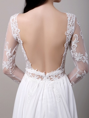 Boho Beach Sheer Lace Chiffon Tul Mangas largas Deep V Back Vestido de novia sin espalda_9