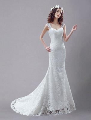 Weißes Brautkleid Queen Anne Mermaid Backless Lace Brautkleid_2