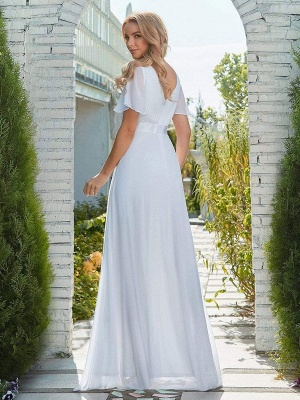 Simple Wedding Dress Chiffon V-Neck Short Sleeves Backless A-Line Long Bridal Gowns_4