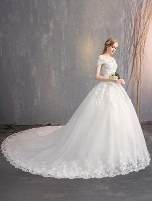 Ballkleid Prinzessin Brautkleider Elfenbein Spitze Perlenketten Schulterfrei Brautkleid_4