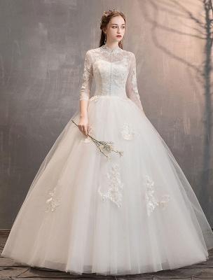 Tüll Brautkleider Elfenbein Illusion Ausschnitt Halbarm Bodenlangen Prinzessin Brautkleid_2