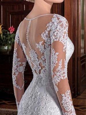 Vintage Hochzeit Brautkleid Mantel Illusion Hals Langarm Spitze Applique Brautkleider mit Zug_3