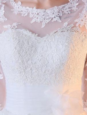 Vestidos de novia cortos Vestido de novia blanco con apliques de encaje de media manga hasta el té_6