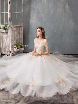 Robes de mariée 2021 robe de bal hors épaule dentelle dorée appliqued étage longueur robe de mariée_4